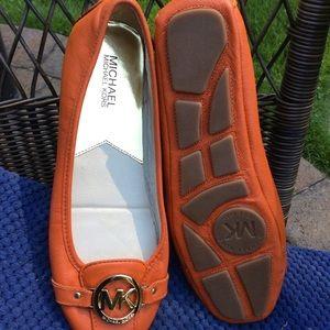 Michael Kors orange flats moccasin style